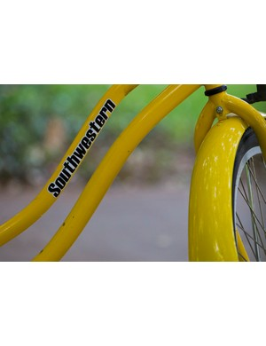 Southwestern's Pirate Bikes are bright yellow, so to be easily spotted for use and or if they wander off campus