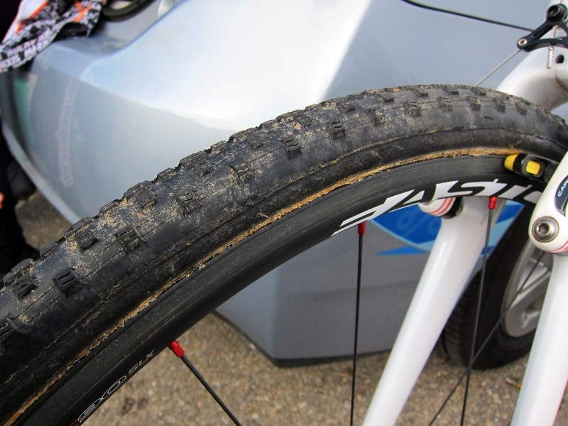Geoff Kabush's (Maxxis-Rocky Mountain) mechanic, Gary Wolff, says he occasionally injects some Stan's sealant into the team's custom Dugast/Maxxis tubulars