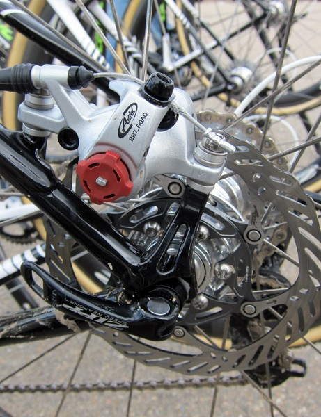 Cannondale-Cyclocrossworld.com offset some of the extra weight of Tim Johnson's disc-equipped bike with titanium hardware