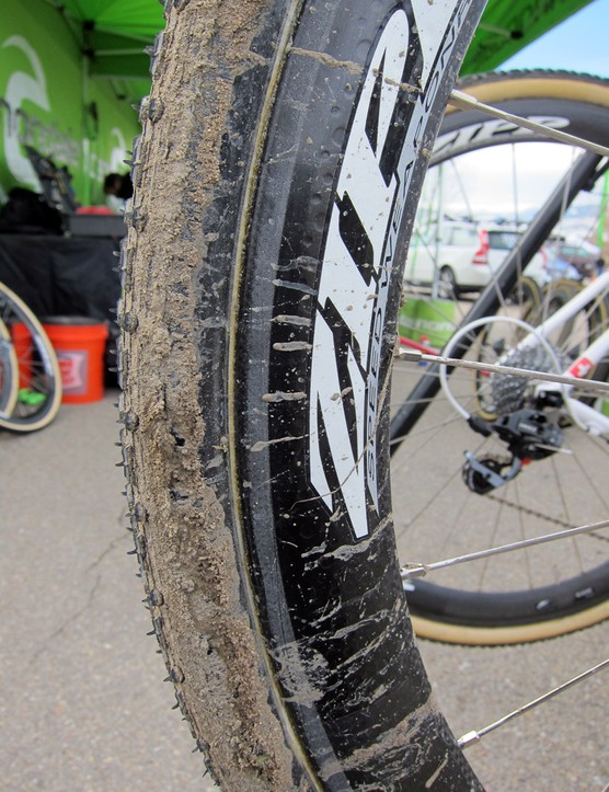 Tim Johnson (Cannondale-Cyclocrossworld.com) didn't care about mud on his rims during practice on Saturday with his special disc-equipped Cannondale SuperX