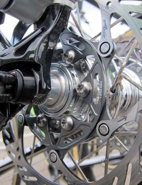 Cannondale-Cyclocrossworld.com fitted Tim Johnson's Cannondale SuperX Disc with titanium rotor bolts