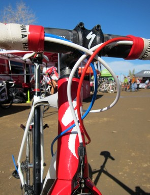 Specialized don't provide Todd Wells with a custom red, white and blue bike to celebrate his national championship but the colored housing gets the point across