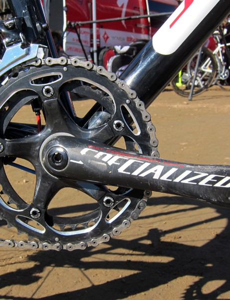 Specialized's ultralight and remarkably rigid FACT carbon crank is dressed up with 'cross-specific 39/46T rings from SRAM