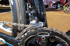 Like most top pros, Todd Wells (Specialized) is using the steel-caged version of SRAM's Red front derailleur