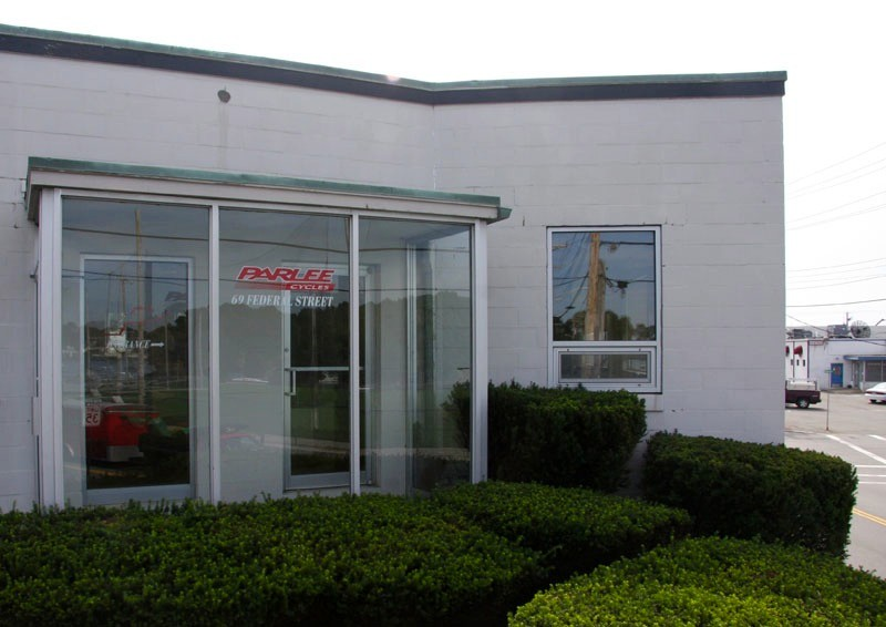 The front door of Parlee's new headquarters in Beverly, Massachusetts. The two-story building once housed a railway turntable