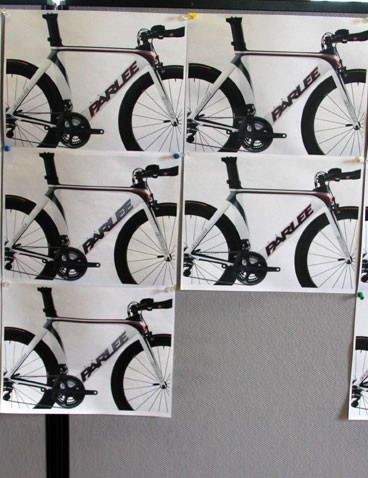 Various iterations of Parlee's custom time trial machine