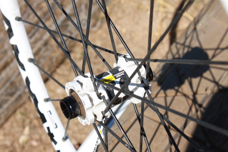 Mavic's SX hubs are also painted white, which is a possible explanation to our issues with brake howl on long excessively steep descents
