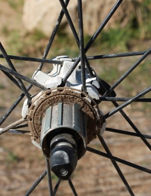 The drive side spokes are semi-captured, however, we were able to dislodge a rear non-drive spoke from its hub attachment