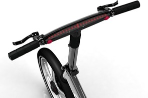 The Gocycle G2's integrated dashboard provides useful information such as speed, gear selection and battery level