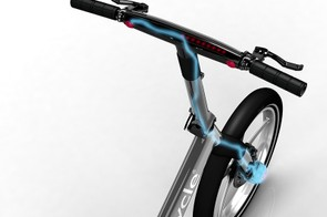 The Gocycle G2 is powered by a front hub motor