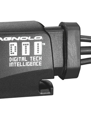 Campagnolo's DTI rider interface, which allows for adjustment of the derailleurs and has an LED battery indicator