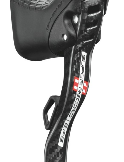 Like the mechanical version, the Super Record EPS ErgoPower shifter features lighter materials and lighter, hogged out, levers