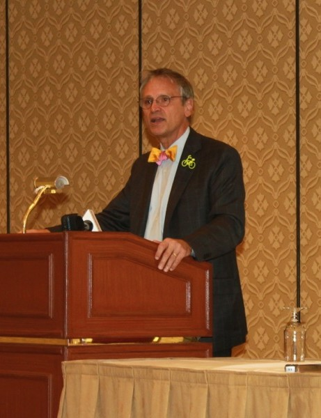 Rep. Earl Blumenauer (D-Ore.) speaking on behalf of bike access at the Interbike tradeshow in 2010