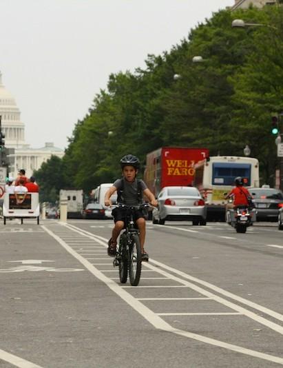Riding in Washington, DC on the Pennsylvania Avenue bike lanes