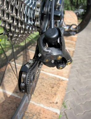 The only limit screw used on the entire system is the inner stop for the rear derailleur, for extra insurance against shifting into the spokes