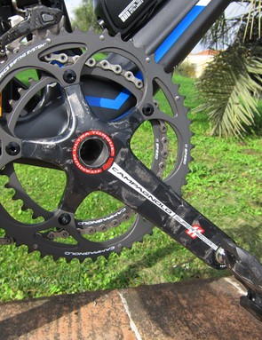 Campagnolo's XPSS chainrings shift quickly and smoothly and the addition of the computer-controlled EPS motorized front derailleur has enhanced that functionality