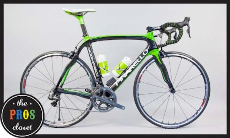 Edvald Boasson Hagen's Pinarello Dogma 60.1 Sky Team bike with Rainforest Rescue green paint job, which was used as a spare bike during the 2011 Tour de France