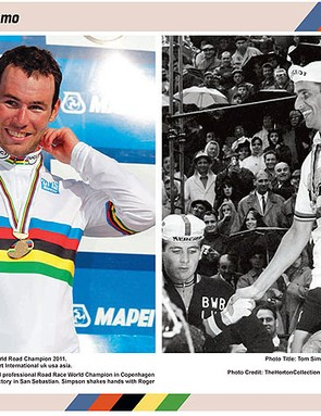 Mark Cavendish and Tom Simpson adorn the inside front cover