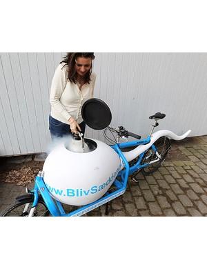 The Copenhagen sperm bike has its own freezer compartment to store donor sperm