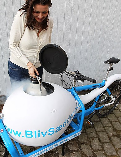 The Copenhagen sperm bike has its own freezer compartment to store donor sperm