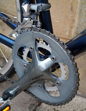 A Tiagra 50/34 compact chainset on the Raleigh Clubman