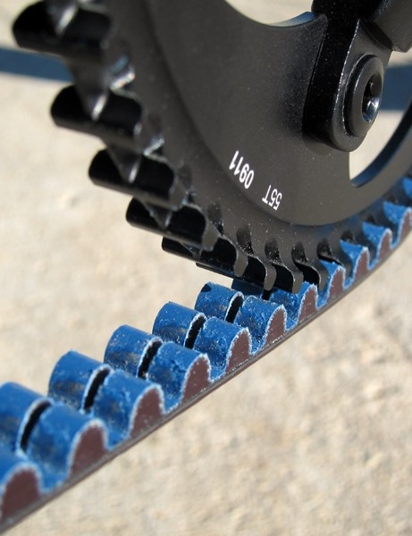 The Gates Carbon Drive CenterTrack toothed belt runs quietly and should require virtually zero maintenance