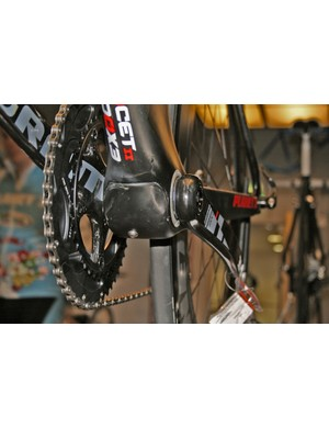 A super-neat carbon cover protects the lower cable routing on the Planet X Exocet 2