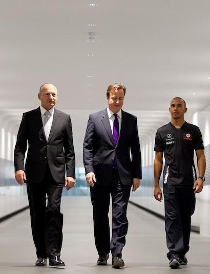 Cavendish, Prime Minister Cameron, McLaren Group's Chairman and CEO Ron Dennis, and Vodafone McLaren Mercedes Formula 1 drivers Lewis Hamilton and Jenson Button