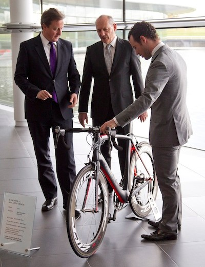 McLaren Group's Chairman and CEO, Ron Dennis, talks with Cameron and Cavendish about the Specialized S-Works + McLaren Venge inside the McLaren Technology Centre in Woking