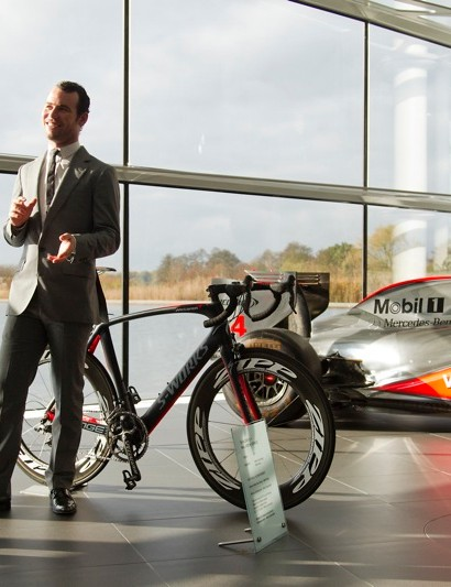 McLaren Group's Chairman and CEO, Ron Dennis, talks with Mark Cavendish about racing the Specialized S-Works + McLaren Venge inside the McLaren Technology Centre in Woking