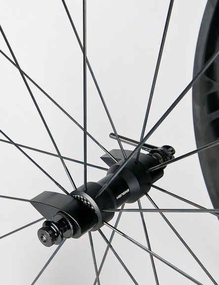 English says that pairing the narrow flange hub to a deep section rim maintains spoke bracing angle and wheel stiffness