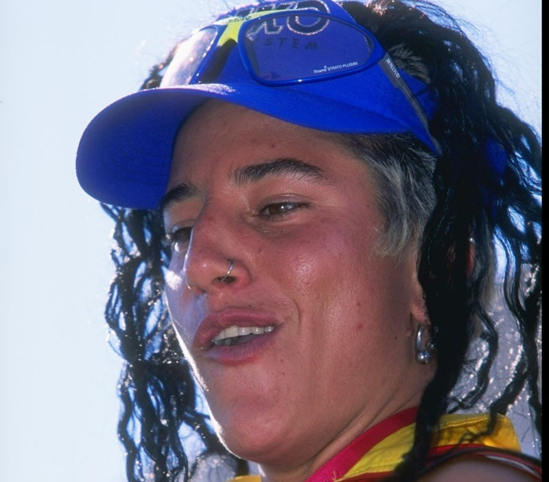 Missy Giove during her heyday as a downhill mountain biking star