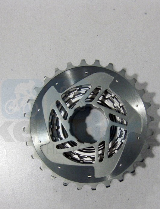 The back of the new SRAM Red cassette uses a pressed-on machined aluminum cog similar to the current XX piece
