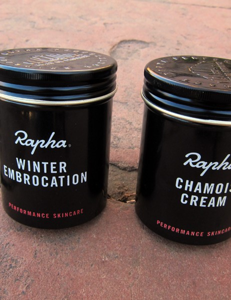 The Rapha Winter Embrocation and Chamois Cream come in metal tins