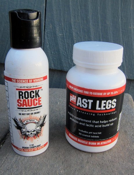 Rocktape's Rock Sauce is a concentrated analgesic to soothe aching muscles while pHast Legs will supposedly provide measureable improvements in muscle performance