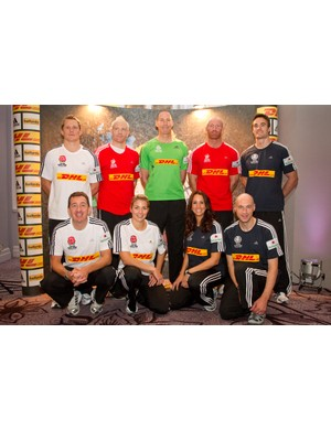 Celebrity competitors in the DHL First Nation Home challenge. Back row (l-r): Josh Lewsey, Iwan Thomas, Paddy Johns, Thom Evans  Front row (l-r): Chris Boardman, Gemma Atkinson, Andrea McLean, Graeme Obree