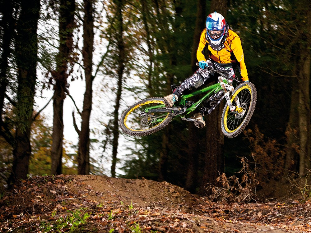 The DHR's light weight made controlling the bike easy, both on the ground and in the air