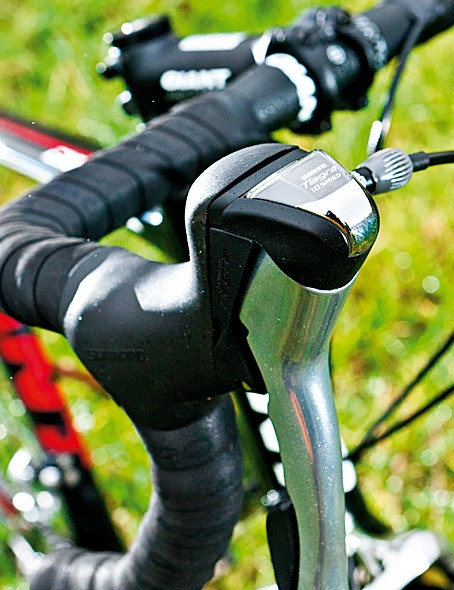 New tiagra shifters have beginner-friendly gear-indicator windows
