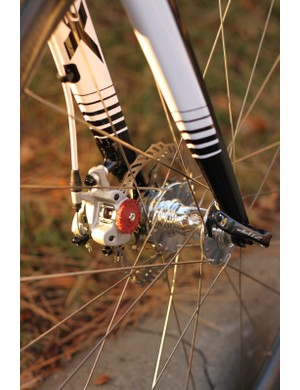 Johnson is using a hopped up pair of Avid BB7 mechanical calipers