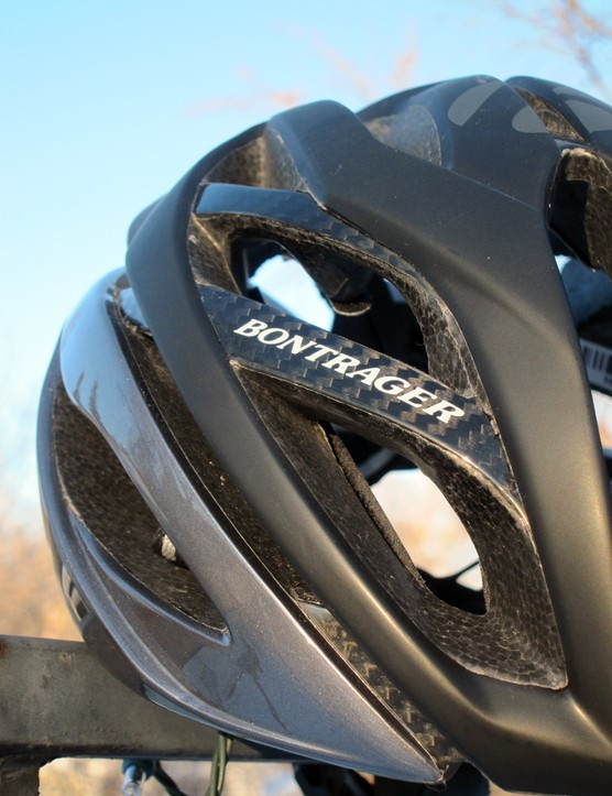 Carbon fiber adds some visual appeal to the Bontrager Oracle while also allowing for bigger vents and deeper internal channels