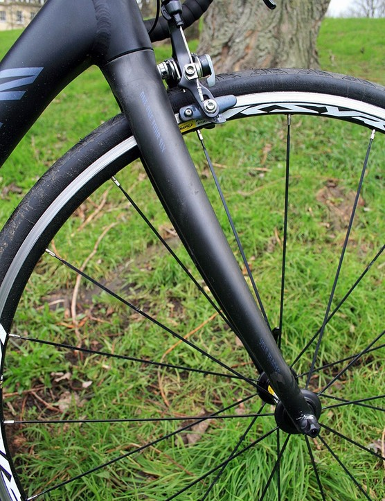 A carbon fork on the Canyon Ultimate AL 9.0 Di2