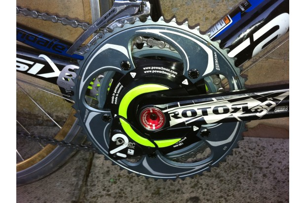 The Power2Max is integrated into the crank spider. And yes, that is an odd component cocktail