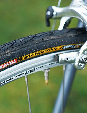 The fat 26c Kenda tyres are the equivalent of putting wellies on your bike, but they should last for ages