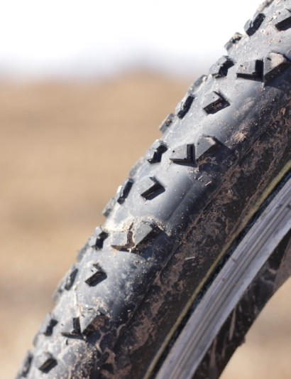 The profile of the Terra shows its lack of deep center knobs; it may be this attribute that makes the tire so versatile