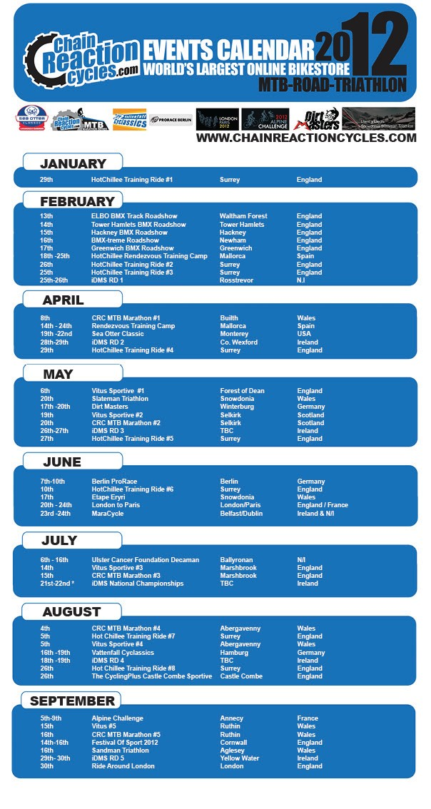 Chain Reaction Cycles events calendar for 2012