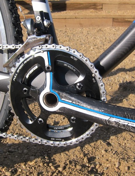FSA's K-Force Light crank is custom colored and equipped with 46/36-tooth chainrings; we'd have liked a larger inner ring for our own racing