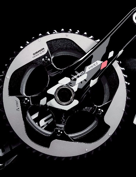 The new crank gets a hidden fifth arm, a generally more stoutly reinforced chainring spider, and an outer chainring that closely resembles the current TT-specific model. Also, note the