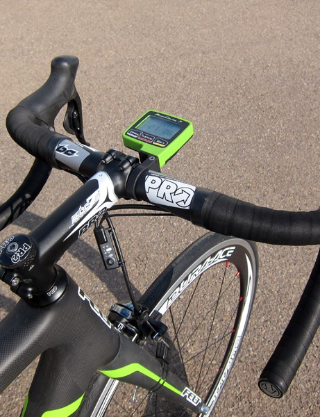 The all-aluminum PRO cockpit on this particular bike is well suited to a powerful sprinter.