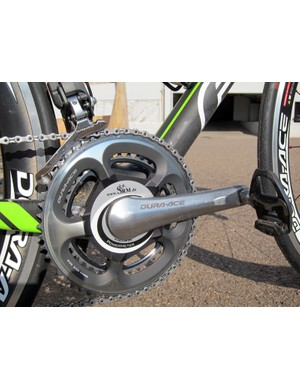Shimano Dura-Ace 7900 chainrings are fitted to 7800 arms on this SRM power meter.