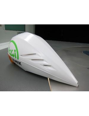 Exhaust vents on 1t4i's Uvex aero helmet help keep riders from overheating.